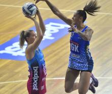 Southern Steel goal shoot Lenize Potgieter calmly lines up a goal as Northern Mystics goal keep...