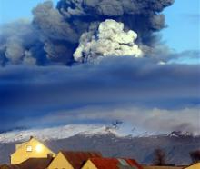 The volcano in southern Iceland's Eyjafjallajokull glacier sends ash into the air just prior to...