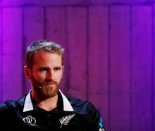 New Zealand skipper Kane Williamson speaks during an ICC Cricket World Cup captains' press...