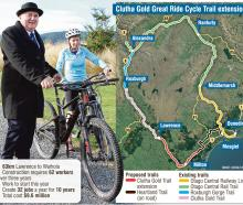 Regional Economic Development Minister Shane Jones and Clutha Gold Cycle Trail Trust member Jill...