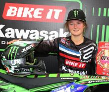 Otago's Courtney Duncan (Kawasaki KX250F), with the leader's red number board after her dominant...