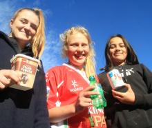 Showing a few items that should be recycled are East Otago High School year 9 pupils (from left)...