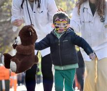 Dunedin 4-year-old Theo Stocker's friend gets a clean bill of health at the Teddy Bear Hospital...