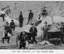The men employed at the quarry face of the Milburn Lime and Cement Company's works. — Otago...