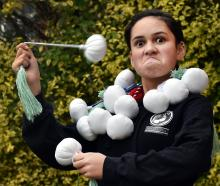 Dunedin schoolgirl Georgia Tiatia (12) Fa'atoese Latu shows off her wares at her home in...