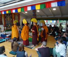 Tibetan Buddhist monks perform a ceremony to destroy a mandala in Queenstown yesterday. PHOTO:...