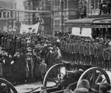 Returned soldiers in Stuart St Dunedin during the Peace celebrations on July 19, 1919. - Otago...