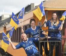 Getting ready for the train from Dunedin to the Ranfurly Shield challenge in Oamaru are (from...