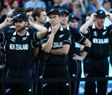 Trent Boult of New Zealand looks dejected following his side's defeat during in the Cricket World...