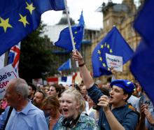 An anti-Brexit protestor holds a flag of the European Union outside the Houses of the Parliament in London. Photo: Reuters