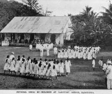 Children at Takitimu School, Rarotonga, demonstrate physical drill during a visit from the...
