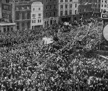 The huge crowd that gathered in Trafalgar Square, London, on the receipt of the news on June 28...