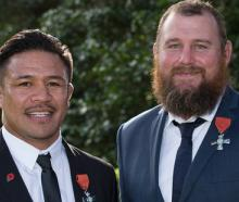 Keven Mealamu (L) and Tony Woodcock after receiving the New Zealand Order of Merit. Photo: NZ Herald