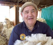 Alistair Eckhoff busy classing wool in a shed near Fruitlands last week. Photo: Sally Rae