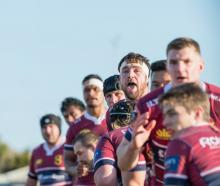 Southland forwards wait for the ball to be thrown to a lineout during their Mitre 10 Cup clash...