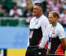 Japan head coach Jamie Joseph and attack coach Tony Brown. Photo: Getty Images