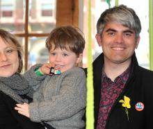 New mayor Aaron Hawkins celebrates with his wife Anya Sinclair and son Emile Hawkins (3). Photo:...