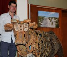 Waikaka farmer Jono Gardyne made this bull by welding worn out pieces of machinery together to...