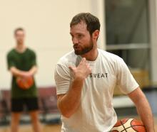 Drew Hanlen offers some advice during his camp at the Edgar Centre in Dunedin yesterday. PHOTO:...