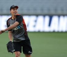 Trent Boult takes part in a New Zealand training session at Optus Stadium in Perth yesterday....