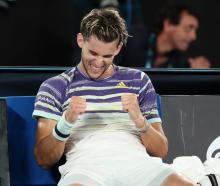 An elated Dominic Thiem after the four-hour match in Melbourne. Photo: Reuters