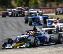 Liam Lawson leads the charge during Race 3 of the Toyota Racing Series event at Highlands...