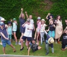 Big Little Theatre Company (BLTC) summer school students in playful mood at Trotts Garden on...