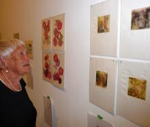Ashburton artist and art gallery volunteer Barbara Jaine checks out some of the small print works.