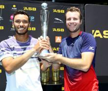Ben Mclachlan (left) and Luke Bambridge after winning the men's doubles at the 2020 ASB Classic....