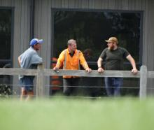 Wanaka Rugby Club president Richard Pledger, club member Danny Greig and groundsman Chris Rook...