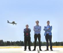 Waitaki District Council chief executive Fergus Power (left), Dawn Aerospace general manager...