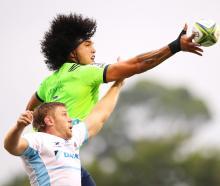 Highlander Peri Peri Parkinson wins the lineout ball in their preseason match against the...