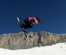 Wanaka skier Luca Harrington competes in his final run of the men's freeski halfpipe at the...