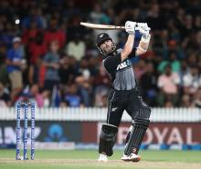 Black Caps captain Kane Williamson during his innings against India last night. Photo: Getty Images