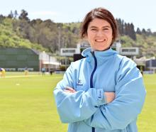 Women's cricket umpire Katie Hogue at the University of Otago Oval on Sunday. PHOTO: LINDA...