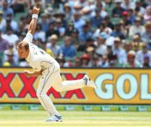 Neil Wagner bowls for New Zealand against Australia. Photo: Getty Images
