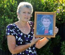 Ngairena Hartman holds a photo of her son Todd Campbell. Photo: ODT files