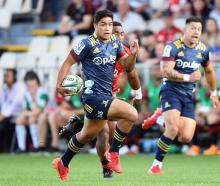 Josh Ioane runs with the ball during last week's game against the Crusaders. Photo: Getty Images