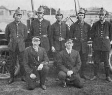The Hillside Railway Workshops No 1 fire-fighting team, which won the Southern Fire Brigades...