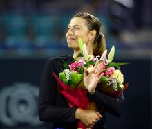 Russia's Maria Sharapova after her match against Australia's Ajla Tomljanovic in 2019. Photo:...