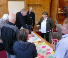 Otago Regional Council Regional Policy Statement workshop attendees discuss issues with Cr Kate...