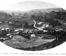 A glimpse of Kaikorai Valley with Brockville and Fraser's Gully in the distance. — Otago Witness,...