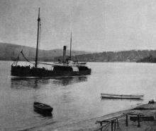 The SS Kotare leaving Pounawea for Dunedin with a cargo of timber. — Otago Witness, 30.3.1920.