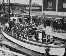 A launch load of children from orphanages leaving Dunedin wharf for the annual picnic given by...