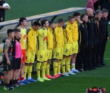 Wellington Phoenix players and staff. Photo: Photosport