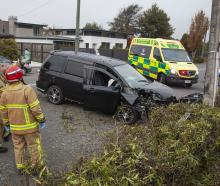 The crash on Ilam Rd, Bryndwr, Photo: Geoff Sloan