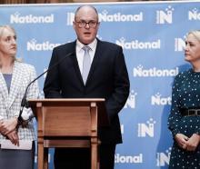 Amy Adams (left), Todd Muller and Nikki Kaye announcing National's portfolio reshuffle. Photo: RNZ