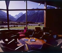 Aoraki Mt Cook from the Hermitage Hotel lounge c.1960. Photo: Alexander Turnbull Library