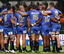 Force players in a huddle following their loss to the Highlanders at nib Stadium in Perth in May....