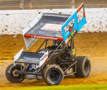 Ruapuna-contracted sprintcar racer Matt Leversedge racing at Western Springs last season.  Photo:...